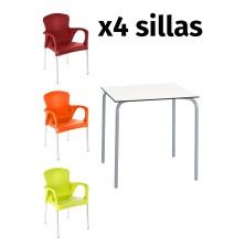 alt= Pack mesa SITA + 4 Silla Calella