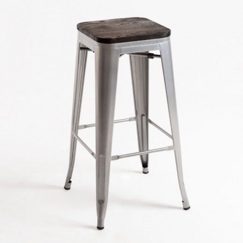 alt= taburete Tolix madera oscura