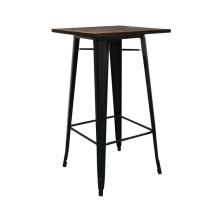 alt= mesa Tolix alta madera oscura