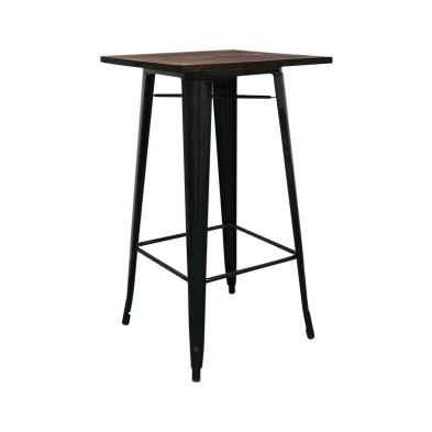 mesa Tolix alta madera oscura