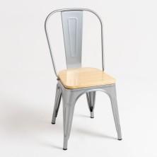 alt= silla Tolix madera natural
