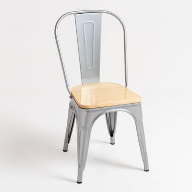 silla Tolix madera natural