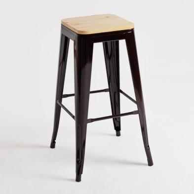 taburete Tolix asiento madera